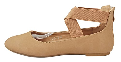 Loafer Zip Women Round Toe Comfort Cross Back Flats Elastic Dress Tan Strap Criss Ballet qazqU
