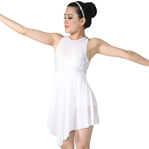 MiDee Illusion Sweetheart Sequines Tank Top Trianglar Cut Skirt Lyrical Dress Dance Costume (PA,White)