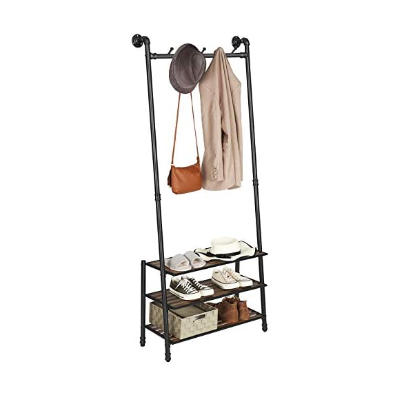 "VASAGLE Coat Rack with Shoe Rack, Industrial Pipe Style Hall Tree, Angled Coat Stand for Hallway Entryway, Standing Against The Wall, Bolt Hooks and Slat Shelves, Stable Metal Frame, Black URCR75BX - INDUSTRIAL STYLE IS IN! Angled black pipes, slat shelves, bolt hooks-a hall tree overflowing with industrial accents makes a unique staple in your hallway while providing a convenient drop-off spot on your way in or out PROP AGAINST THE WALL: A blank wall is all it needs to create an attractive display, and the jackets you throw on it will complete its standout look; prop it against the wall for a stable stand, or attach it to the wall with the included hardware FROM HEAD TO TOE: With a 69.7"" high slanted design tying the whole stand together, it packs plenty of storage without taking too much space, catching hats and coats on the 5 hooks and hosting shoes on the 3 shelves - hall-trees, entryway-furniture-decor, entryway-laundry-room - 41muSDi2xGL. SS570  -"