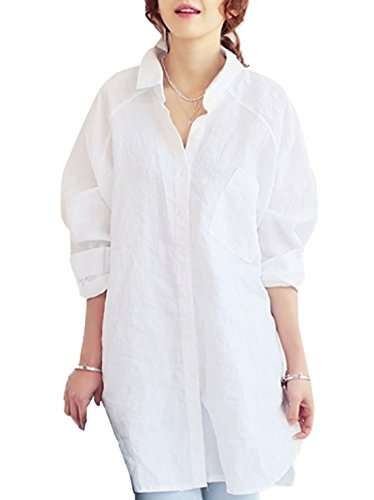 a Risvolto Camicie Maglietta Maglie Lungo Bluse Tunica Casual Basic Simple Manica con Bianca Moda Top Lunga Irregolare Bottoni Donne Fashion Primavera Sciolto ZzCwqnvO