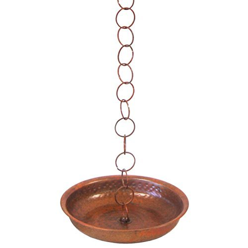 "Ancient Graffiti Flamed Rain Chain Receptacle Basin with 23"" of Chain"
