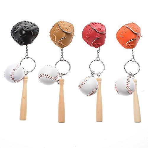 ISKYBOB 4 Pack Mini Baseball Bat Glove Shaped Keychain Creative Keyring Pendant ()