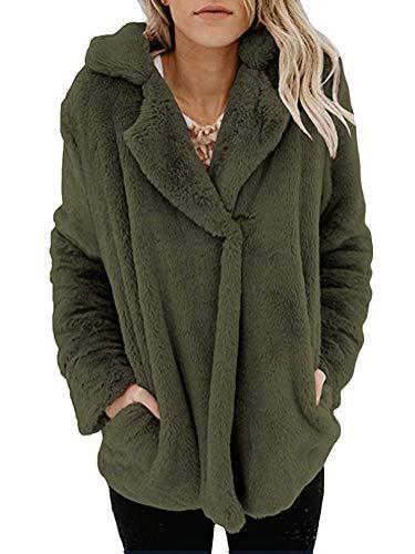De Teddy Collar Cárdigan Outwear Mujer Casual Jacket Solapa Minetom Peluche Coat Abrigo Capa Invierno Parka Sudaderas Chaqueta Verde Felpa 1qaz67