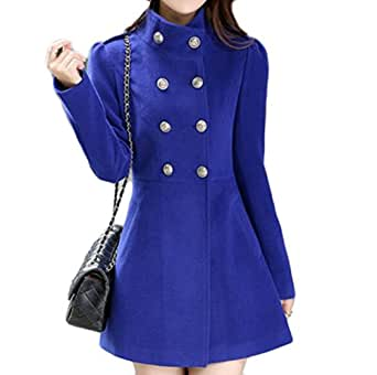 Amazon.com: UUYUK Womens Winter Fall Double Breasted Slim Fit Solid Stand Collar Pea Coat Royal