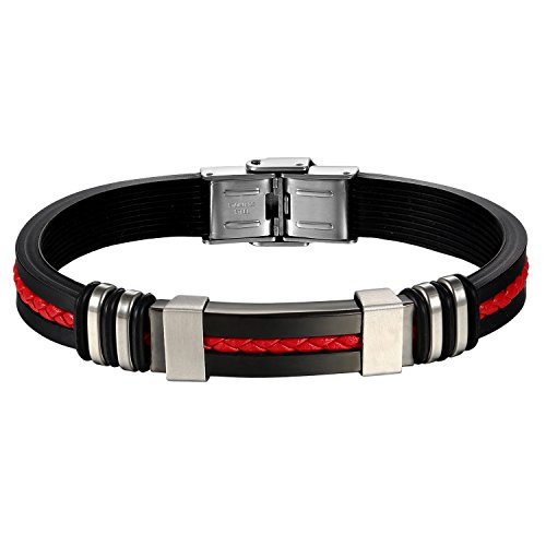 Oidea Stainless Steel Black Rubber Bracelet Red Braied Leather Inlaid for Mens Boys,8.4 Inch