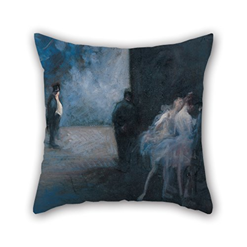 [Oil Painting Jean-Louis Forain - Backstage―Symphony In Blue Throw Pillow Covers ,best For Sofa,boy Friend,seat,coffee House,him,couples 16 X 16 Inches / 40 By 40 Cm(both] (Face Painting For Lion Costume)
