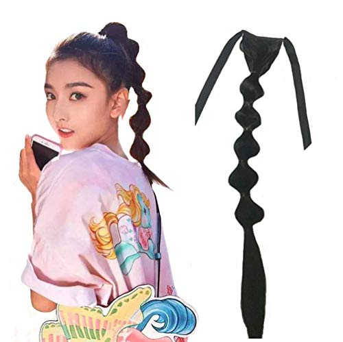 Female Handmade Lantern/Bubble Ponytail Hairpiece Natural Fishbone Braid Cucurbit Pony Tail Extension Tie up Black