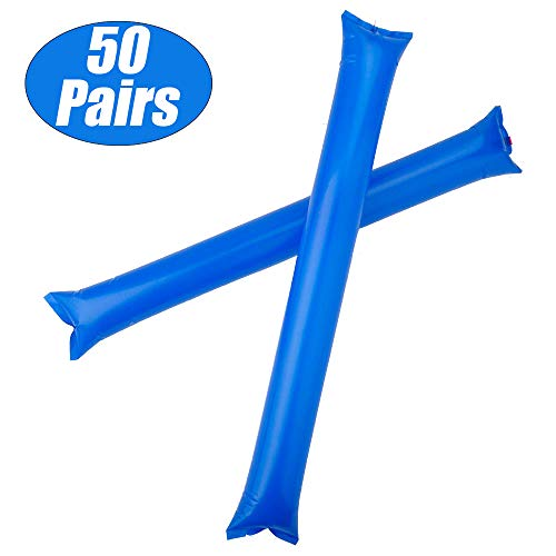 GOGO Bam Bam Thunder Sticks Cheerleading Outfit Inflatable Noisemakers Blow Bar Party Favors Blue 50 Pairs