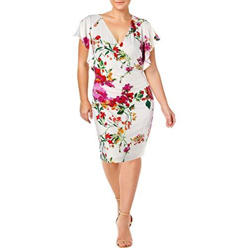 LAUREN RALPH LAUREN Womens Kahlo Floral Print Faux-Wrap Cocktail Dress White 18