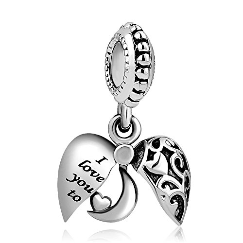 Q&Locket Heart Bear Mom I Love You To The Moon &Back Charm Photo Beads For Bracelet