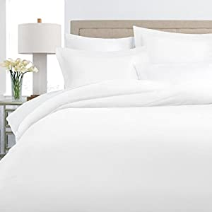 Italian Luxury 100% Long-Staple Combed Cotton Duvet Cover Set - Hypoallergenic Duvet Cover with Zippered Closure and Matching Shams - Full/Queen - White