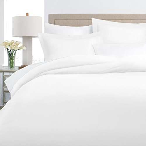 Duvet 100% Cotton Cover (Italian Luxury 100% Long-Staple Combed Cotton Duvet Cover Set - Hypoallergenic Duvet Cover with Zippered Closure and Matching Shams - King/Cal King - White)