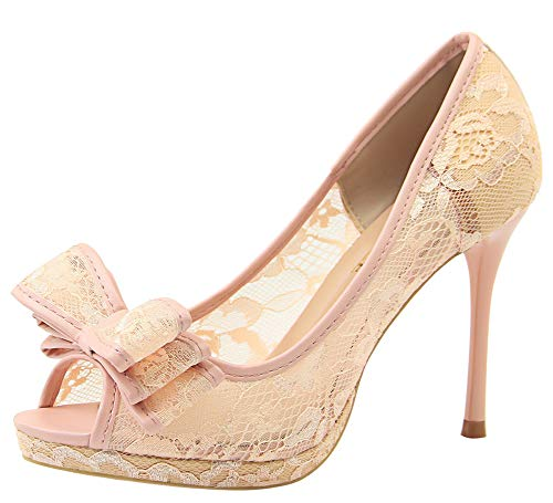 Aisun Women's Peep Toe Pumps with Bows - Sexy Nightclub Mesh Lace Cutout - Slip On Platform High Stiletto Heels (Pink, 8 M US) (Sexy Pink Lace Stiletto Heel)