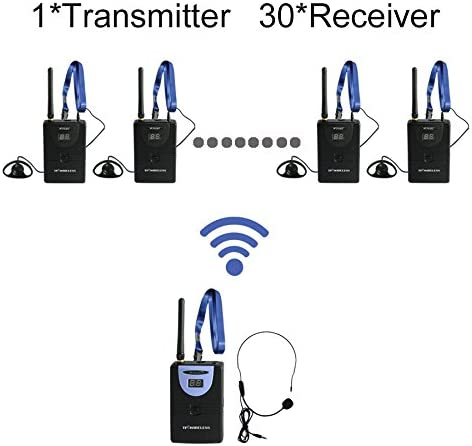 Professional TP-Wireless Tour Guide System for Tour Guiding, Teaching, Travel, Simultaneous Translation,Meeting, Museum Visiting 1 Transmitter and 30 Receivers