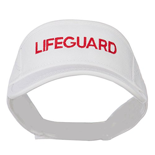 Lifeguard Embroidered Strap Back Visor - White (Lifeguard White Hat)