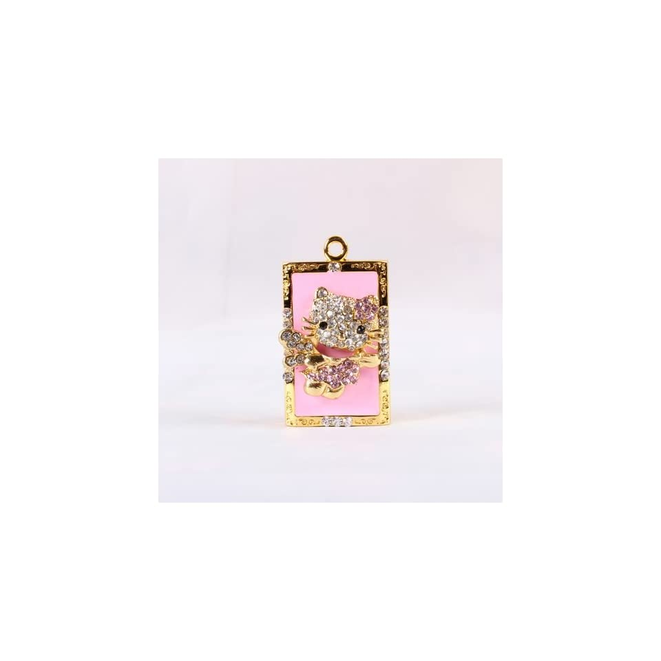 High Quality 8 gb Pink Hello Kitty Crystal Jewelry USB Flash Memory Drive Necklace  Pink