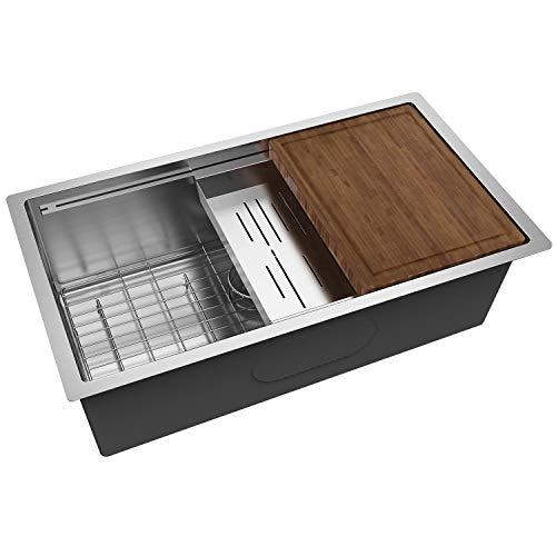 MENSARJOR 30''x19'' Workstation 16 Gauge handmade Undermount Single Bowl Stainless Steel Kitchen sink