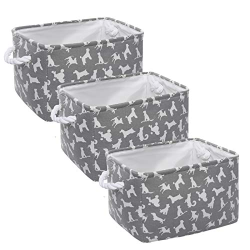 HOKEMP Set of 3 Large Cute Designs Animals Pattern Storage Basket, 13.7 x 9.8 x 9.4 in Fabric Collapsible Organizer Bin with Carry Handles, for Closet Storage, Baby Toy Basket for Gifts (Animals)