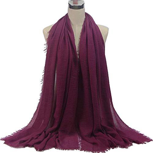 Women Lady Pure Color Soft Cotton Hemp Infinity Scarf Travel Sunscreen Pashmina Shawl Long Big Scarves