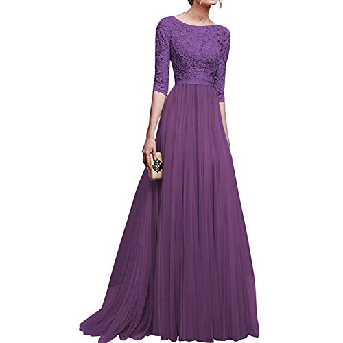 (Women's Vintage Floral Lace 3/4 Sleeves Long Cocktail Bridesmaid Maxi Dress Floor Length Retro Formal Wedding Pageant Evening Prom Party Dance Gown Plus Size V-Neck Pleated Swing Dress Purple L)