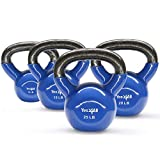 Yes4All Combo Vinyl Coated Kettlebell Weight Sets – Great for Full Body Workout and Strength Training – Vinyl Kettlebells 10 15 20 25 lbs