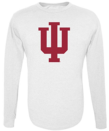 Alta Gracia NCAA Indiana Hoosiers Men's Long Sleeve R-Spun Tee, White, Medium
