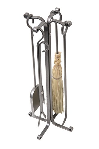 Enclume 4 Piece Rolled Eye Fireplace Tool Set with Stand, Hammered Steel by Enclume Hearth