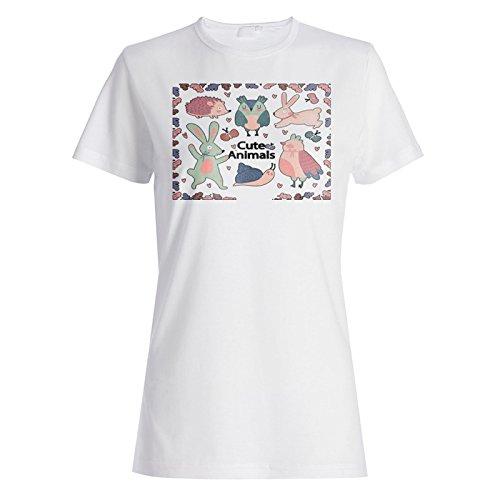 Smiley Divertido De Los Animales Lindos camiseta de las mujeres o375f