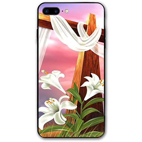 iPhone 7 Plus Case/iPhone 8 Plus Case Easter Cross Picture Soft Rubber Cover Lightweight Slim Printed Protective Case