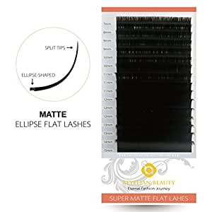 (mix) - BEYELIAN MATTE Black Ellipse Flat Mink Eyelash Extensions Individual Semipermanent Lash Building D Curl 0.20mm Mixed Tray 7-15mm Assorted