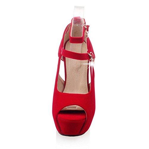 Toe Chaussures TAOFFEN Peep D'été Femmes Rouge f7wqaxvF