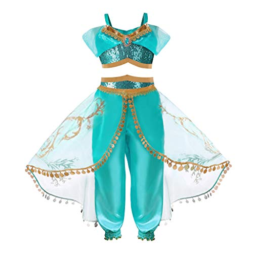 Toddler Little Kids Princess Jasmine Costumes Dress Up Costume Arabian Sequined Princess Dress Memela (Green, 2-3 Years) -