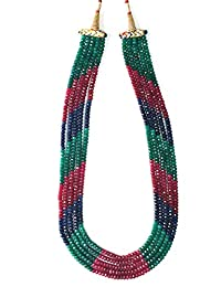 Emerald Ruby Sapphire Quartz Facetted Rondelle Beads 5 -String Necklace for Women