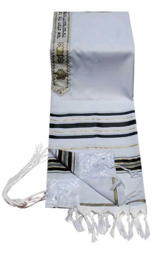Talitnia Acrylic Tallit (Imitation Wool) Prayer Shawl Black and Gold Stripes in Size 24