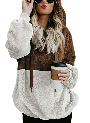 Hoody Zip Fur - Menglihua Fleece Hoodie Sherpa Pullover Sweatshirt for Women Fuzzy 1/4 Zip Handy Pockets Hooded Outwear Brown XXXXX-Large