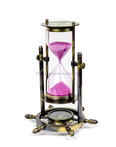 Antique Nautical Maritime Sand Timer | Hourglass With Functional Wheel Compass | Nautical Home Decor | Nagina International