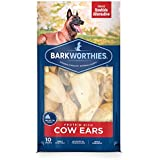 Barkworthies Protein Rich Cow Ears - All Natural Rawhide Alternative - Highly Digestible Dog Chew - Gourmet Healthy Dog Treats (10 Chews)