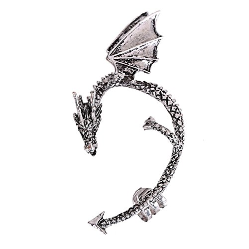 (MANDI HOME Gothic Punk Rock DJ Party Bar New Dragons Lure Cuff Pewter Earring Party Silver)