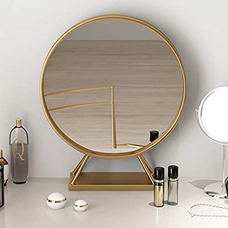 Gold Round Mirror With Base Large Circle Mirrors For Dressing Table Decor 19 68in Big Metal Frame Standing Mirror Modern Vanity Mirror For Living Room Bathroom Bedroom Kitchen Dining