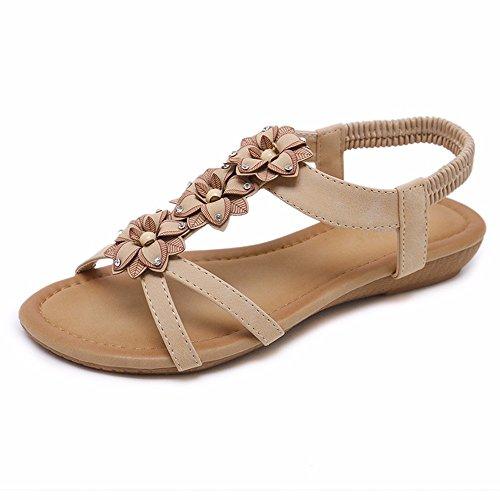 YMFIE Bohemia de Punta Abierta Dulce Flores Sandalias de Diamantes de imitación de Las señoras de Verano Plana Vacaciones Casuales Zapatos de Playa B