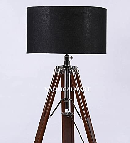 Classical Designer Chrome Finish Stand With Shade Tripod Floor Lamp By Nauticalmart