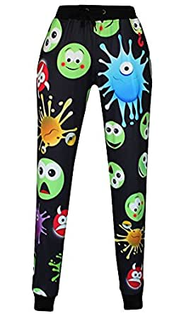 Zuis Women's Emoticon Printed Straight Leg Skinny Pencil Pants