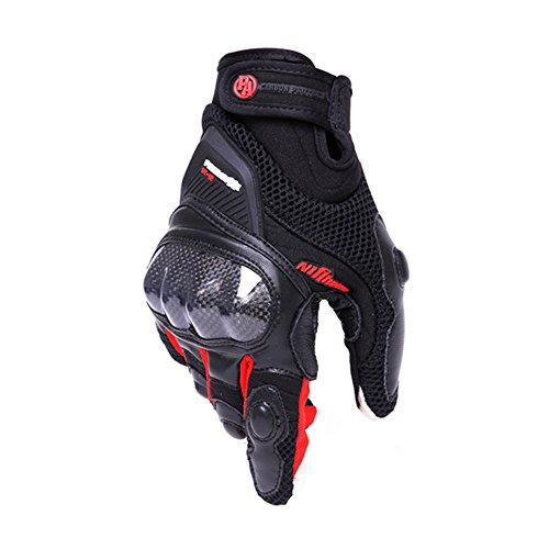 Professional Motorcycle Gloves Off-road Carbon fiber Racing Gloves Motorbikes Gloves Drop Resistance Touch Screen Gloves (RED, M)