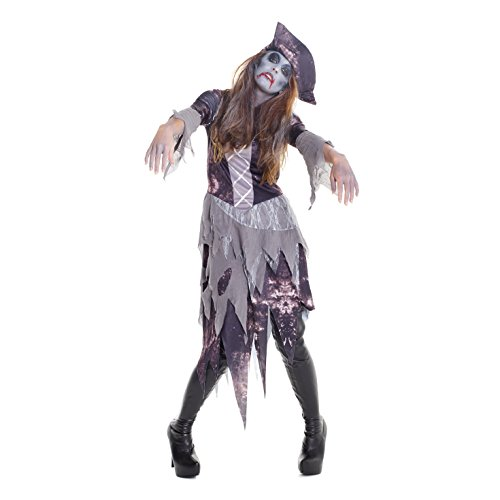 Ghost Ship Pirate Costume Ladies (Womens Ghost Ship Pirate Wench Fancy Dress Costume Costume,Med 6 - 8 US,Gray)