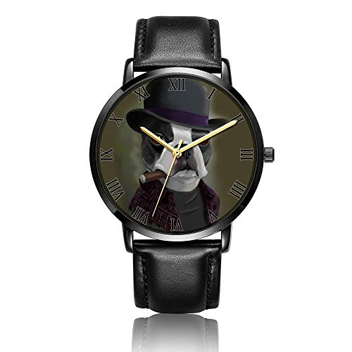 Whiterbunny Customized Bowler Hat Terrier with Cigar Wrist Watch Unisex Analog Quartz Fashion Black Leather Bracelet Wristwatch for Women and Men
