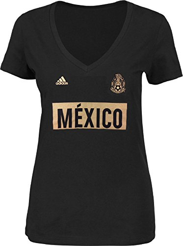 adidas Mexico National Team Women's Bar None Triblend V-Neck T-Shirt Black (Large) (Cap T-shirt Mexico Sleeve Womens)