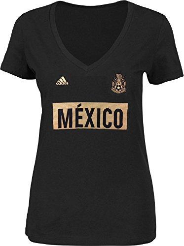adidas Mexico National Team Women's Bar None Triblend V-Neck T-Shirt Black (Large) (Womens Mexico Sleeve Cap T-shirt)