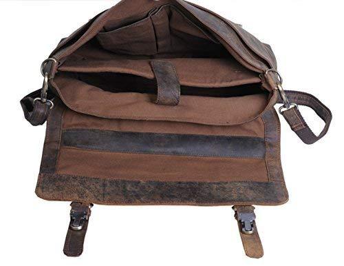KomalC 15 Inch Retro Buffalo Hunter Leather Laptop Messenger Bag