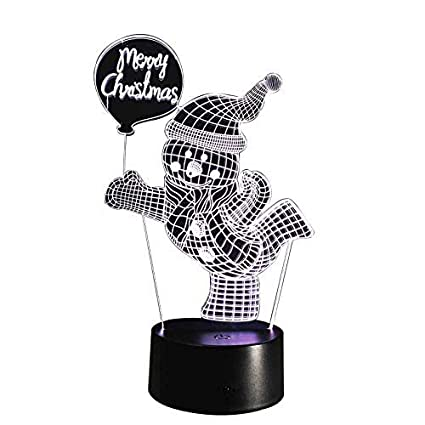Novelty Lamp, 3D Night Light Merry Christmas Tag and Snowman Seven Color Adjustable Touch Switch
