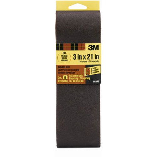 3M 99265NA Sanding Belt Medium 80-Grit, 3 by 21-Inch, 5-Pack